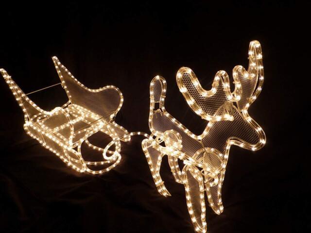 Gold Silver Reindeer /& Sleigh Outdoor Garden LED Light Christmas Decoration