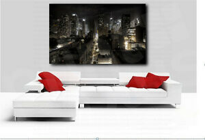 New York City Buildings at Night Cityscape Canvas Art Poster Print Wall Decor