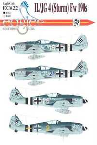 Aircraft Accessories EagleCals Decals 1/72 FOCKE WULF Fw-190 Fighters II/JG 4 Sturm
