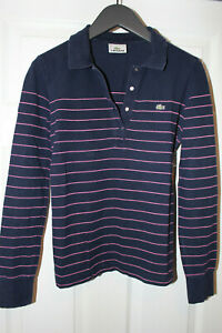 Womens-LACOSTE-polo-T-Shirt-Long-Sleeve-UK-Size-6-8-S-36