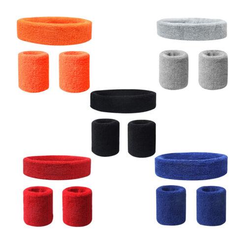 Stirnband Schweißband Fitness Sport Tennis Headband Armband Wristband Band Set