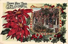 HAPPY NEW YEAR FROM CALIFORNIA~ROSE COTTAGE IN WINTER POSTCARD 1919