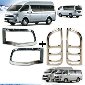 FRONT HEAD LIGHT COVER CHROME LAMP TRIM FOR TOYOTA COMMUTER HIACE 2011 12 13 14