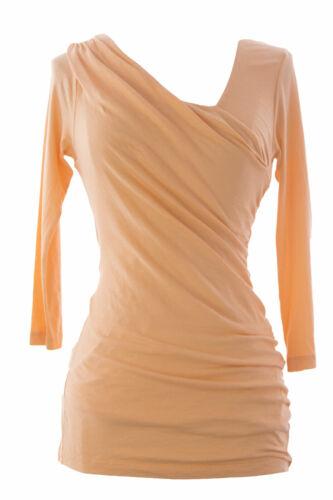 VELVET by Graham /& Spencer Women/'s Peach Ruched Across Front Blouse S $92 NEW