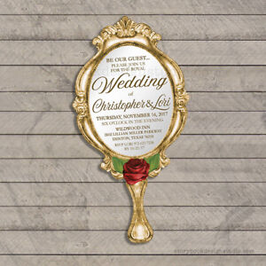 Beauty and the Beast Wedding Invitations Die Cut Hand Mirror