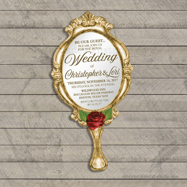 Beauty And The Beast Wedding Invitations Die Cut Hand Mirror PRINTED