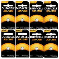 8 X 301/386 Duracell Button Cell Batteries (sr43w, Sr43sw, Sp301, Sp386, Ws10)
