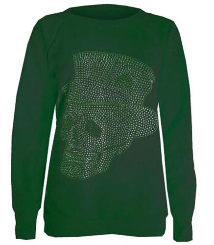 New Womens Skull Hat Sequin Detail Winter Jumpers Sweatshirt Tops 8-14