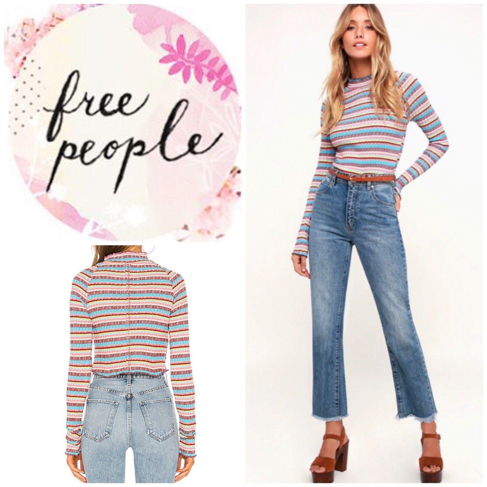 Free People Mirror Tee Shirt Blau Größe Medium NWT
