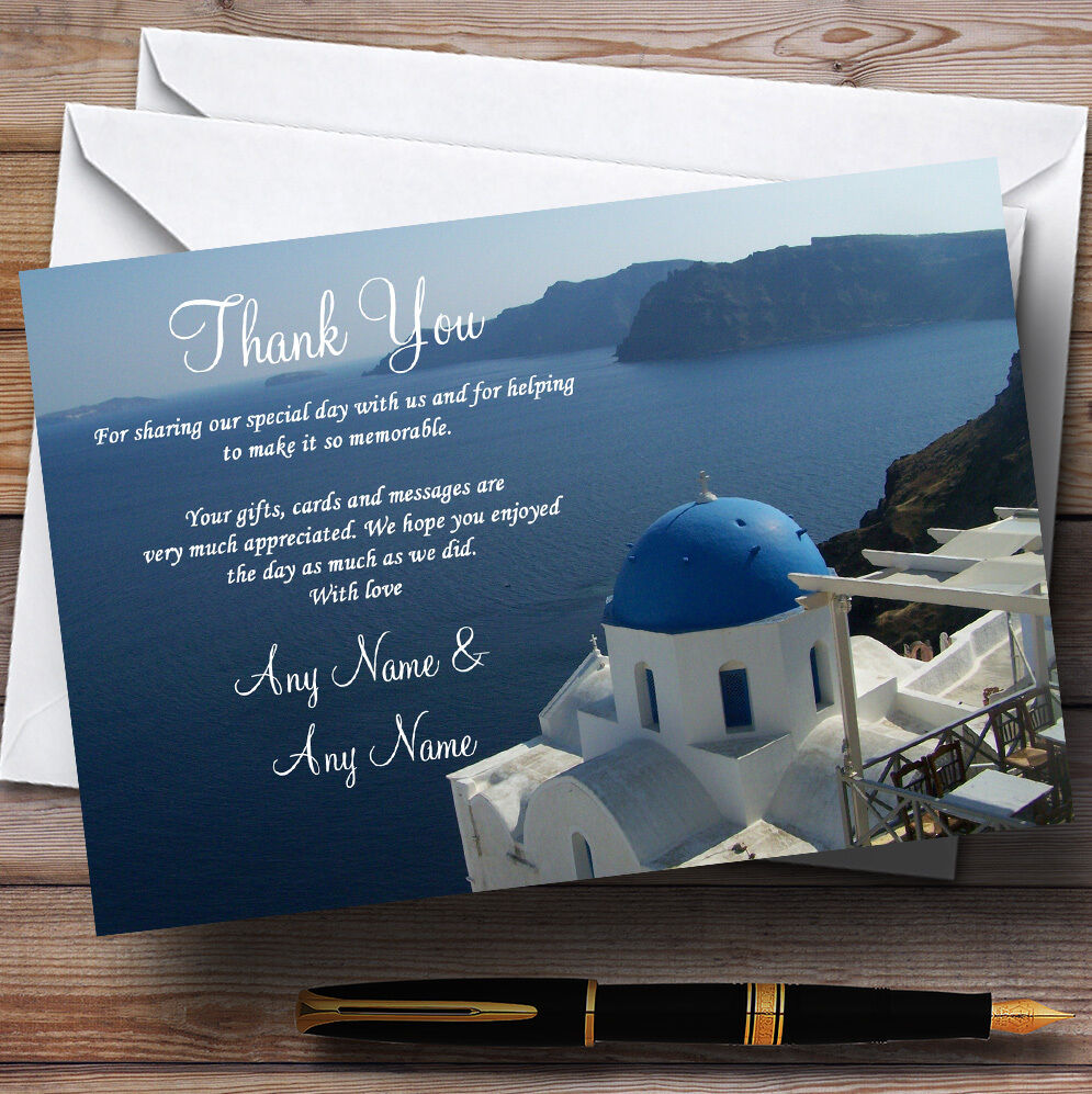 Mer de Santorin Grèce à l'étranger personnalisé de des cartes de personnalisé remercieHommes t de mariage 9c5c4a