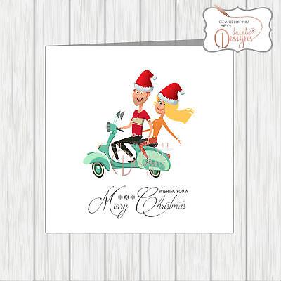 Scooterist Santa Christmas Card Wife Husband Boyfriend Partner Vespa Lambretta