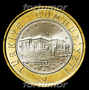 Turkey 1 Lira 2020 TBMM, 100th Year of Grand National Assembly UNC Bimetal Coin