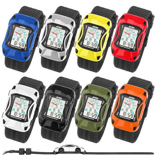 Bunte Silikon Kinder Auto Armbanduhr Digital Quartz Alarm,Stoppuhr LCD Watch
