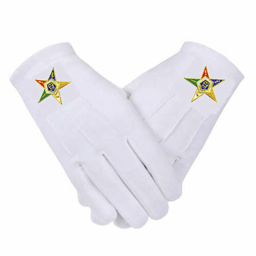 *OES EASTERN STAR GLOVES COTTON 5 SIZES * SM..MD..LG..XL..XXL EMBROIDERED