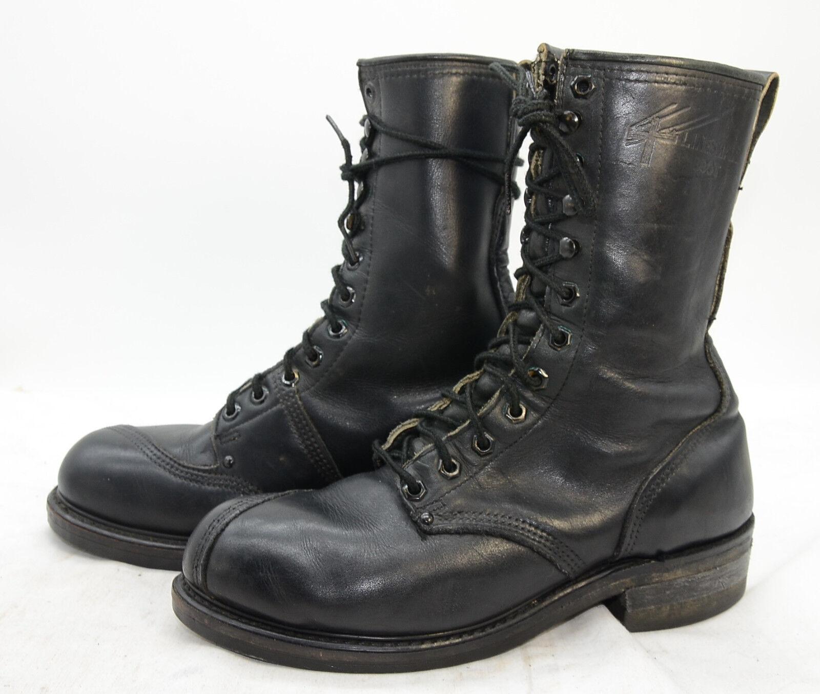 LINESMAN Stiefel Mens Sz 8 Steel Toe Leather HEAVY DUTY Work Logger Biker Stiefel