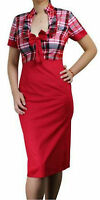 Retro Vintage Rockabilly 50s Style Check Pencil Wiggle Dress Goodwood Vlv Prom