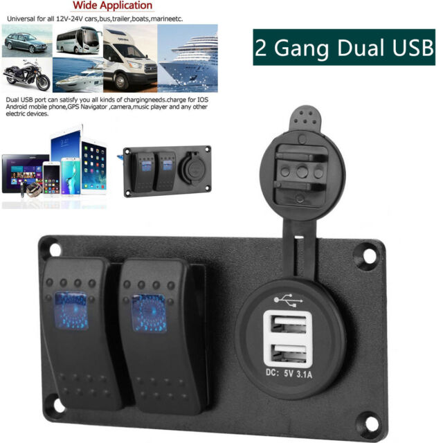 2Gang LED Rocker Switch Panel Circuit Breaker Dual USB Charger Car Marine Boat