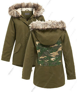 NEW Women Camo Sequin Parka Coat Ladies Khaki Hood Fur Jacket Size