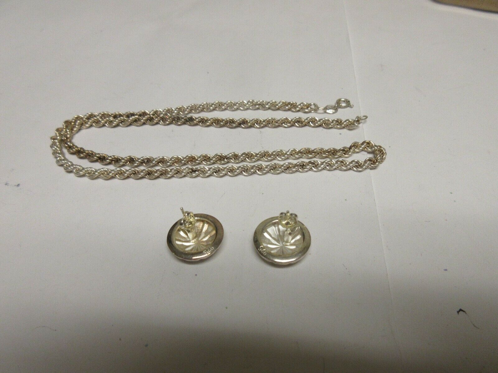 "Costume Jewelry , Vintage , Chain 18"" M 925 , Earrings"