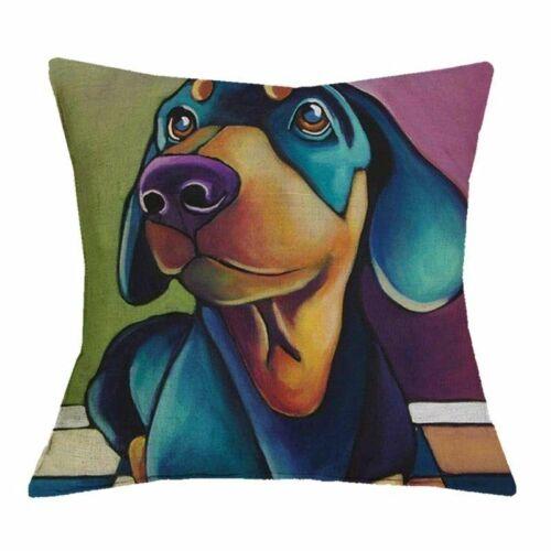 Oil Printed Dog Schnauzer Dachshund Cushion Cover Home Decor Linen Pillow Case
