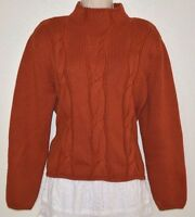 Talbots Petites rusty orange brown cable knit Cotton wool sweater P Large PL