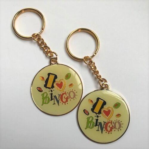 2 I Love Heart Bingo Keychain Key Chains Gold Tone Enamel Finish New