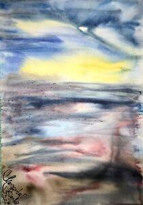 PAINTING-zeichnung-Margarita-Bonke-Landscape-Landschaft-Aquarell-A3-Art-Malerei