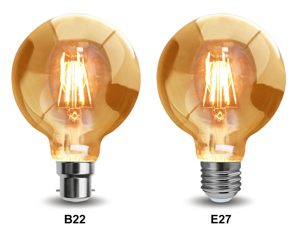 Vintage Led Regulable 6W Globe jaula Edison Estilo Bombilla B22 o E27