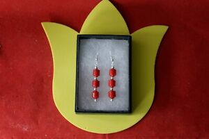 Beautiful Earrings With Red Coral 5.2 Gr.4 Cm. Long + Hooks In Gift Box