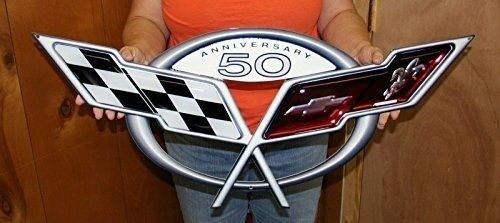 "C5 Corvette 50th Anniversary Metal Wall Sign 32/"" x 12/"""