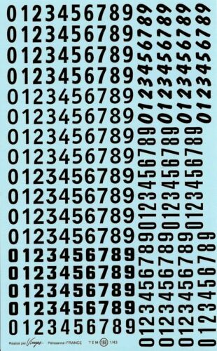 Decalbogen Start Numéros Noir 1:32-1:43 188