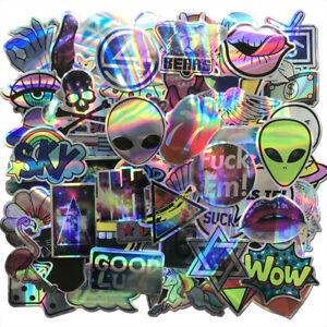 60Pcs-Lot-Motorcycle-Laser-Stickers-Bomb-Tide-Brand-ET-Alien-Skateboard-Decals