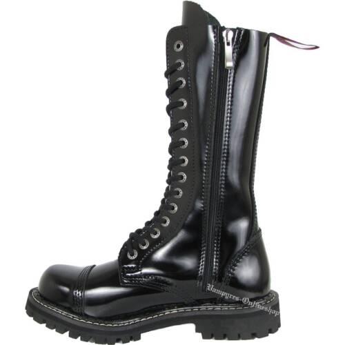 Angry Itch 14-Loch Lack Zip Schwarz Patent Rangers Reißverschluss Stiefel RV