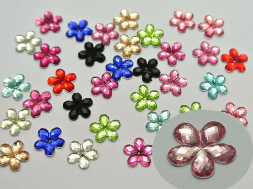 500 Mixed Color Acrylic Flatback Faceted Flower Rhinestone Gems 8mm