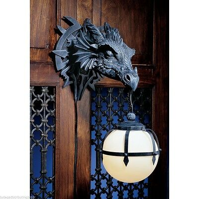 "MARSHGATE CASTLE WALL MOUNTED DRAGON DUNGEON BALL LAMP 18""H RESIN FIGURINE"