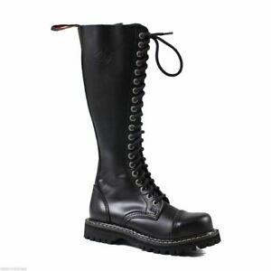 Angry Itch Mens Ladies Black Steel Toe Zip Up Real Leather Combat Knee Boots