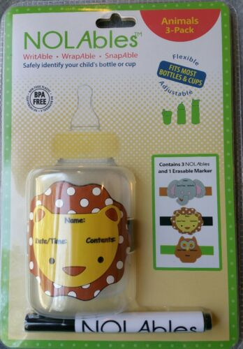 Baby Bottles 3pk NOLabels Animal Reusable Write on Labels for Sippy Cups Water