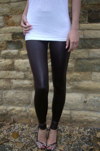 EXTRA LONG Leggings Tall CHOCOLATE Wet Look PVC Shiny 6 8 10 12 14 16 18 S M L