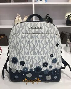 d4bfdab57c9150 ... where can i buy image is loading michael kors emmy floral backpack mk  logo signature 2cd18 ...