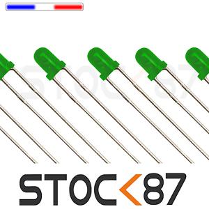 25 ou 100pcs 260DV# LED 3mm ronde vert diffusant dispo 10