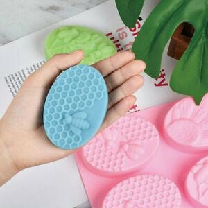 6-Cavity Homemade Making Honey Bee Chocolate Cake Soap Mold Silicone Tray DIY