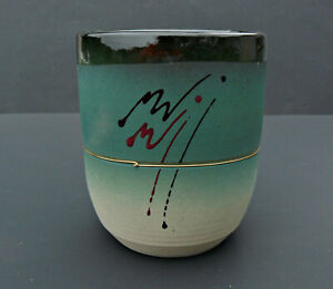Contemporary-Studio-Art-Pottery-Vase-Oval-Top-Round-Bottom-Signed