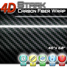 """4D Black Carbon Fiber Vinyl Wrap Bubble Free Air Release - 48"""" x 60"""" Inch (C)"""