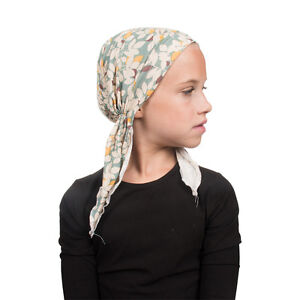 Kids Pretied Headscarf Cute Blue Leaves Girls Alopecia Chemo Scarf Tichel Beanie