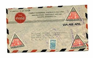 Advertising Envelope COCA-COLA Managua Nicaragua 1950 air mail