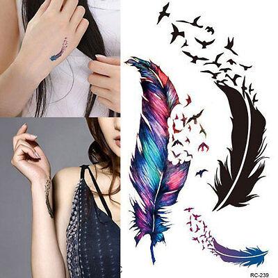 Temporary Tattoo Body Art Colorful Birds Feather Tattoo Stickers Uk Ebay