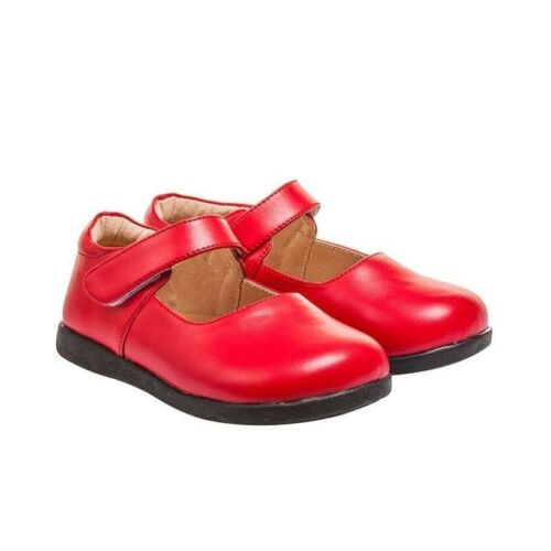 Black Bottom Sizes 8-10 Girl/'s Toddler Leather Non-Squeak Red Mary Jane Shoes