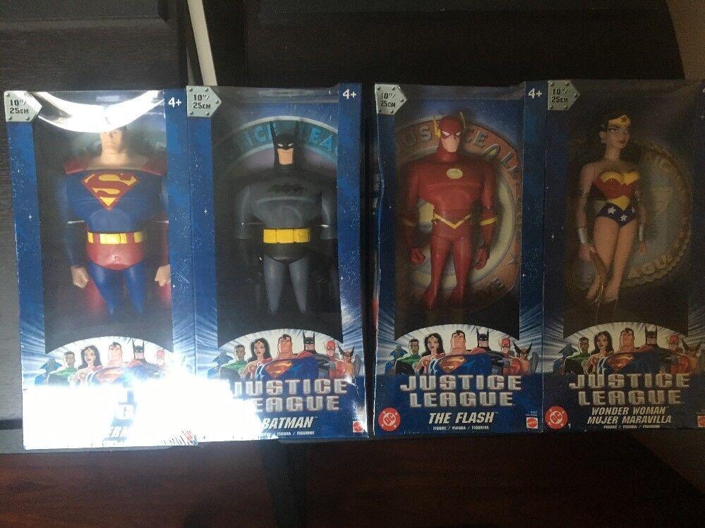Lote 4 DC Comics Liga De La Justicia 2004 10 in (approx. 25.40 cm) Figuras De Acción Batman súperman Wonde