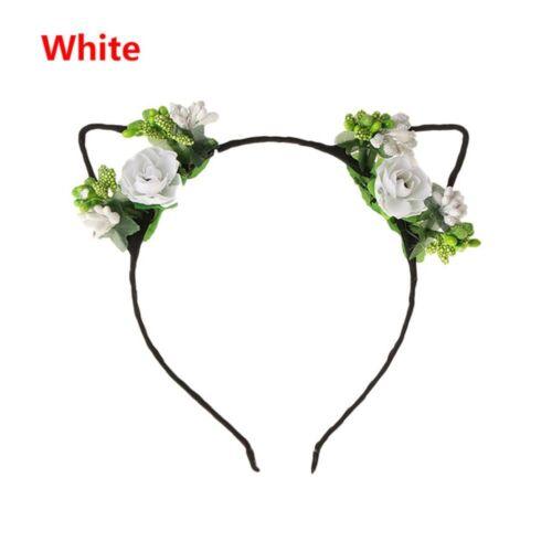 1pc Filles Fleur Rose Cheveux Hoop Coiffure Serre-Tête Chat Oreille Mignon Cheveux Bandes