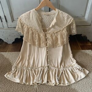 L New Boho Ruffle & Lace Gypsy Peasant Blouse Vtg 70s Ins Top Womens Size LARGE
